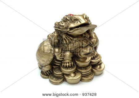 Chinese Frog With Coins. Isolated.