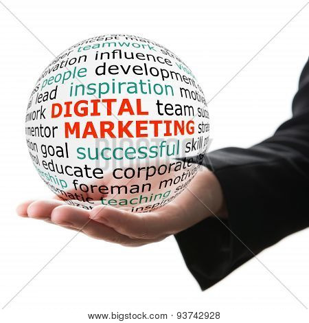 Sphere in hand with inscription digital marketing