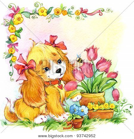 Funny cartoon Puppy dog and flowers. Kid Background For Holiday Greetings . Watercolor Illustration
