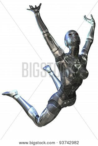 Digital 3D Illustration Of A Female Cyborg