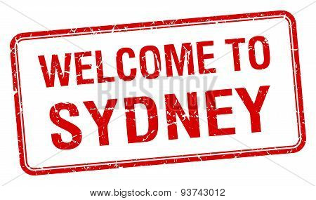 Welcome To Sydney Red Grunge Square Stamp