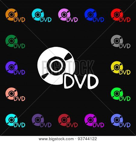 Dvd Icon Sign. Lots Of Colorful Symbols For Your Design. Vector