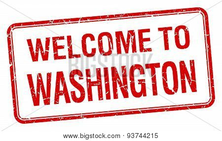 Welcome To Washington Red Grunge Square Stamp