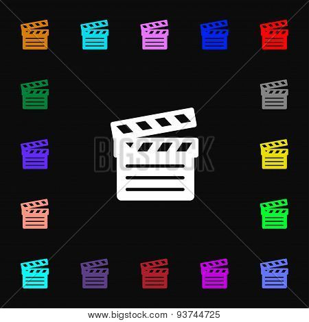 Cinema Clapper Icon Sign. Lots Of Colorful Symbols For Your Design. Vector