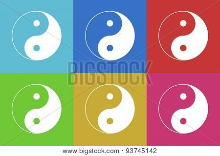 ying yang flat design modern vector icons set for web and mobile app