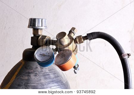 Welding gas cylinder pressure gauge close up