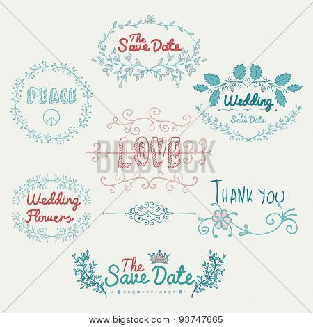 Sketched Romantic Colorful Vector Design Elements.