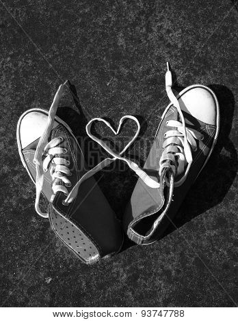 baseball boots sneakers with love heart
