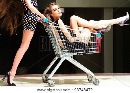 Winning Women With Shopping Trolley