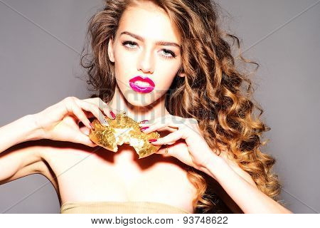 Tempting Pretty Young Girl With Golden Bread Roll