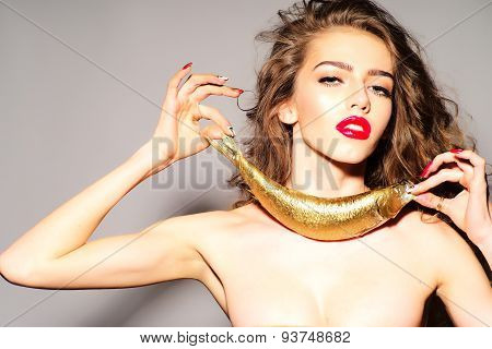 Inviting Young Naked Woman With Golden Fish