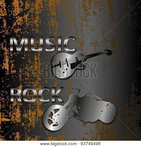 Rock Music On A Metal Background
