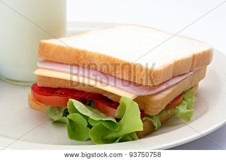 Sandwich And Fresh Milk In Bottle