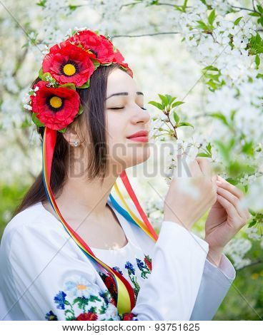 Girl In National Dress Enjoying Spring