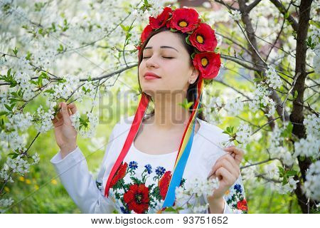 Dreamy Girl In National Dress Holding A Blossoming Branch