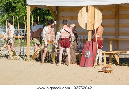 Ancient Roman Gladiators In The Arena Preparing For Battle