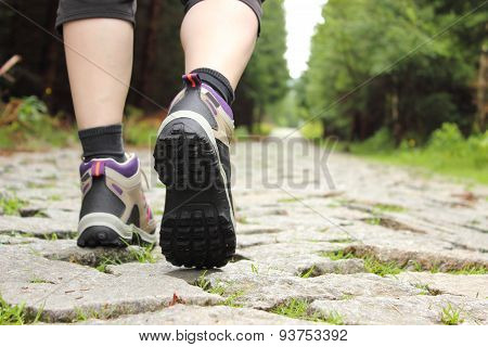 Legs Of A Woman In Hiking Boots In Outdoor Action