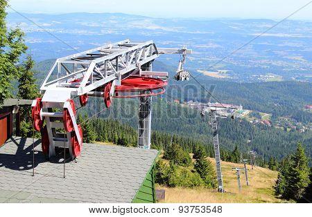 Closed Ski Lift In The Polish Mountains