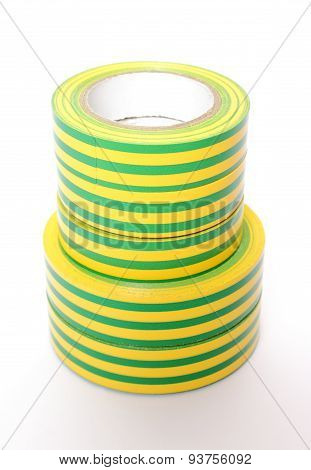 Multicolored Insulating Tapes On White Background