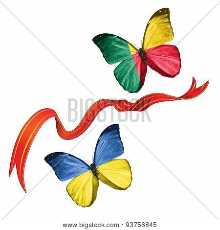 Two butterflies with symbols of Ukraine and Benin