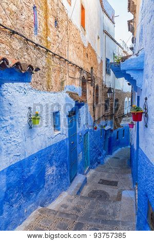 Narrow alley in Chefchaouen Morocco.