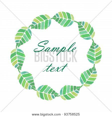 Watercolor spring and summer frame with bright green leaves