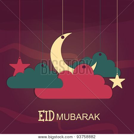 Shiny crescent moon surrounded by hanging clouds and stars on stylish background for Muslim community festival, Eid Mubarak.