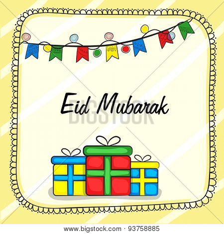 Elegant greeting card design with shiny colorful gifts boxes and colorful buntings decorations for Muslim community festival, Eid celebration.