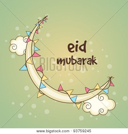 Stylish crescent moon on clouds decorated by colorful buntings for Muslim community festival, Eid celebration.