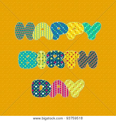 Happy Birthday Card In Patchwork Style
