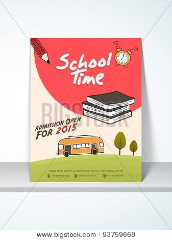 Stylish School Time flyer, template or banner design decorated with stationary and bus.
