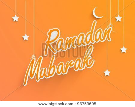 Beautiful greeting card design decorated with stylish text Ramadan Kareem, hanging stars and moons on orange background for Islamic holy month of prayers, celebration.
