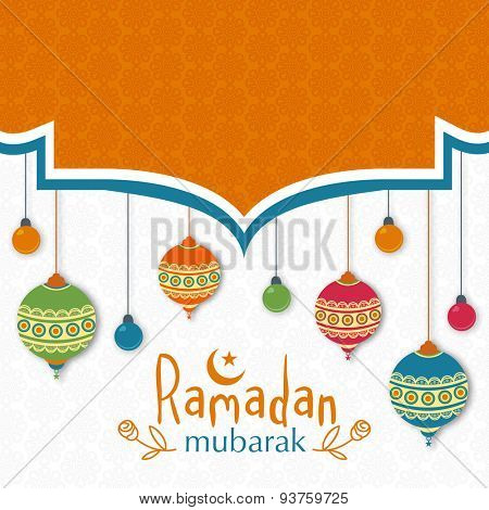 Beautiful greeting card with colorful hanging traditional lanterns and lights on seamless floral design decorated background for Islamic holy month, Ramadan Mubarak celebration.
