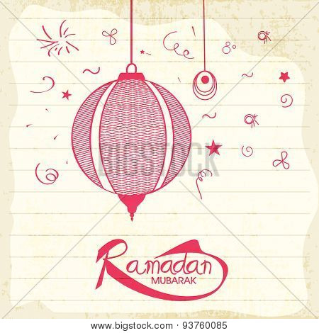Beautiful pink Arabic hanging lantern on grungy notebook paper background for holy month of Muslim community, Ramadan Mubarak celebration.