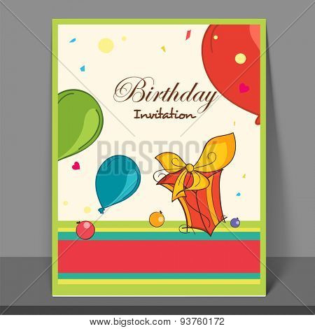 Beautiful invitation card design decorated with colorful balloons and wrapped gift for Birthday Party celebration.