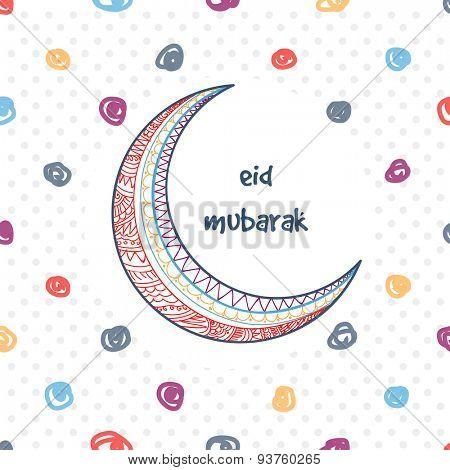 Beautiful floral design decorated crescent moon on stylish background for famous Islamic festival, Eid Mubarak celebration.