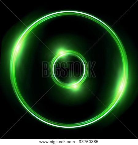 Green Lens Ring Flares Double Circle