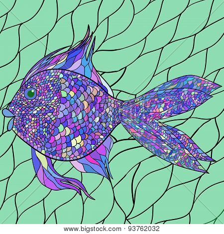 Seamlessly tiling fish pattern. Vector. 2