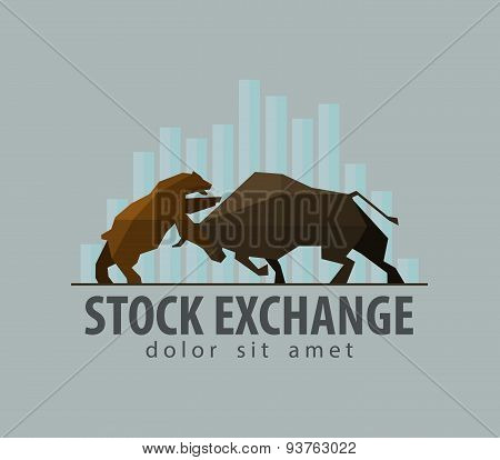 stock exchange, business, finance. vector. flat illustration