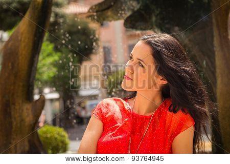 Girl on the street Mediterranean town.