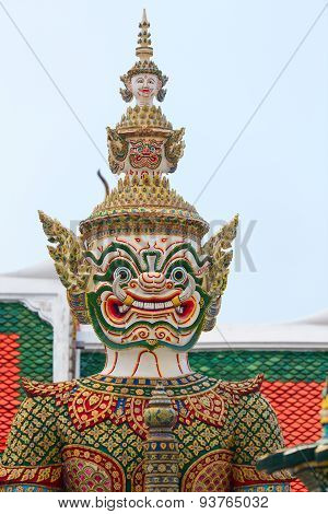 The statue with sword. Wat Pho Temple in Bangkok.