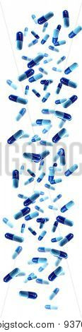 Falling blue medical pills isolated on white