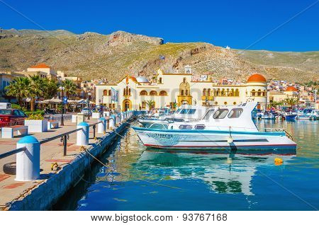 Colorful boats on Kalymnos island, Greece