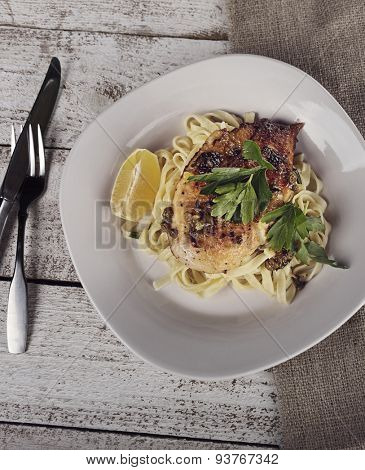Chicken Fillet With Pasta,Parmesan Cheese And Capers