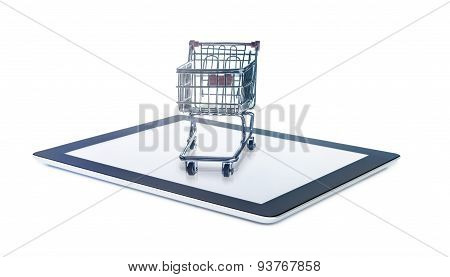 Black generic tablet with shopping cart