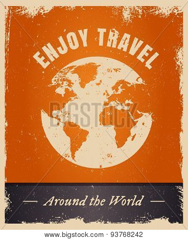 Vintage grunge travelling logo template with earth.