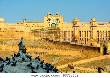 Amber Fort Near Jaipur City In India. Rajasthan