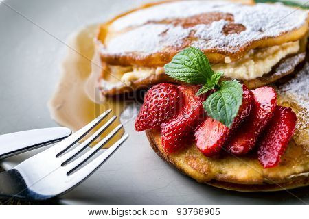 Filled With Homemade Pancakes With Strawberries