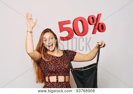 Beautiful Woman With Bag. Sale Concept.