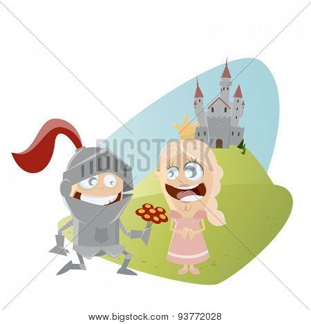 funny cartoon knight giving flowers to a princess